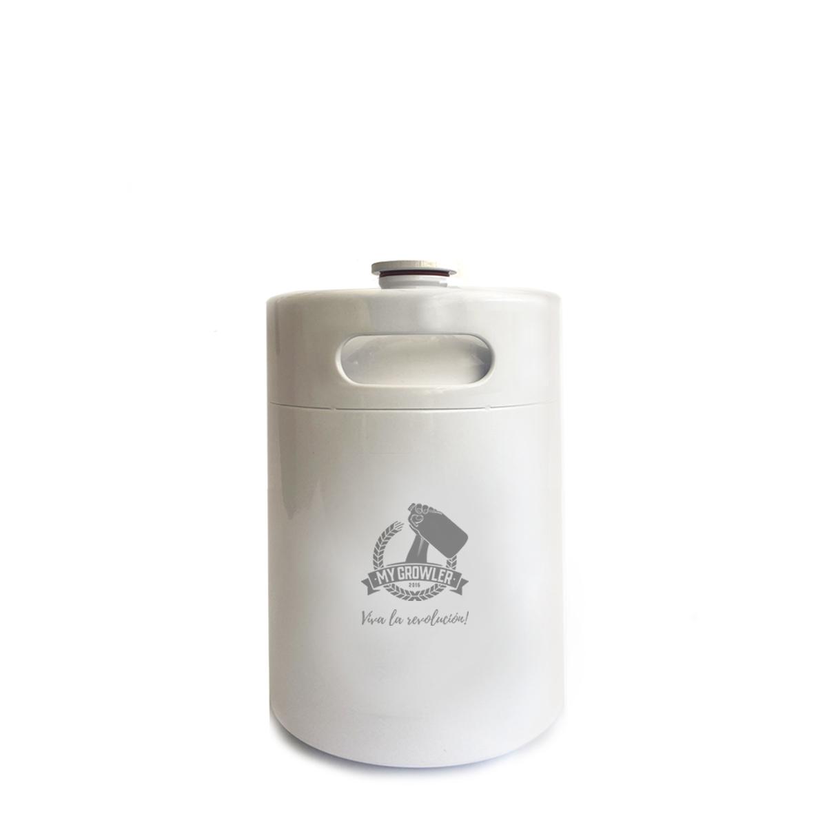 Mini Keg de aço inox 5L branco - My Growler