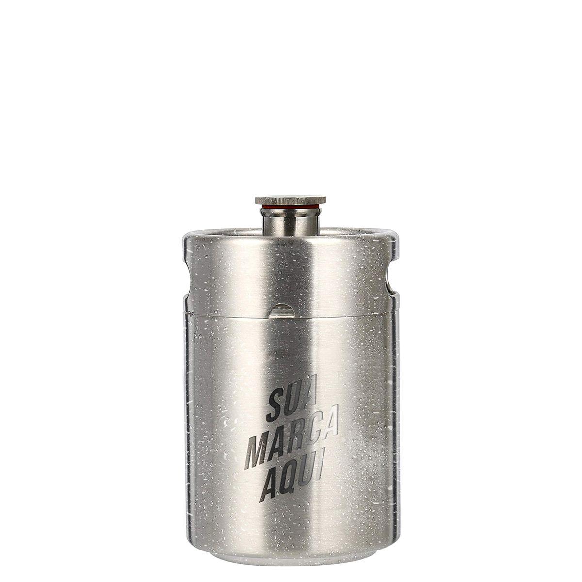 Mini Keg de aço inox - 5L personalizado em laser