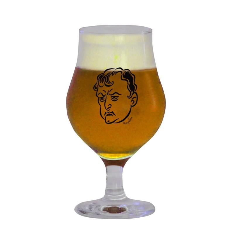 Taça de vidro para cerveja 400 ml estampa bege - Coleção Pensadores da Cerveja - Napoleão