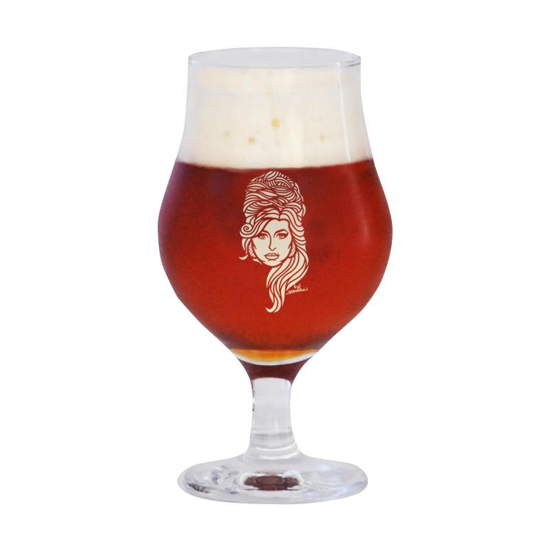 Taça de vidro para cerveja 400ml estampa bege - Coleção Twenty Seven's - Amy Winehouse