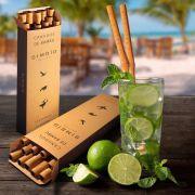 Canudo de Bambu (10 unidades + escova de limpeza)