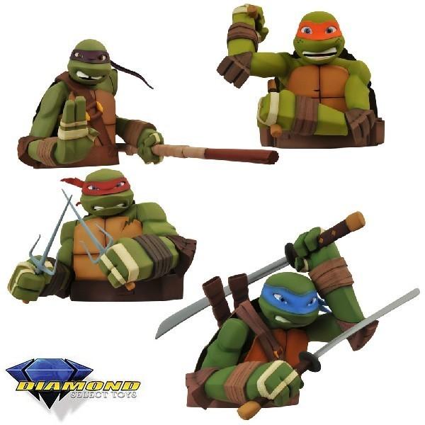 Diamond Select Toys Tartarugas Ninja Busto tipo Cofre Set de 4 peças  - Movie Freaks Collectibles