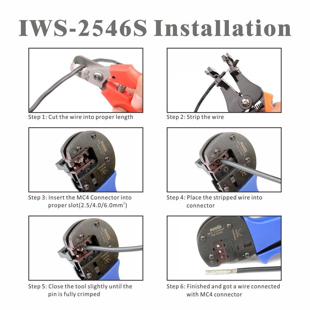 IWISS IWS-2546S - Kit Ferramentas para Crimpar Conector Solar MC3, MC4 e TYCO