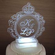 Topo de bolo iluminado com Led - Brasão (M02)
