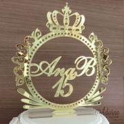 Topo de Bolo Brasão 15 anos - Acrílico Dourado ou Prata Espelhado