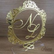 Topo de Bolo Brasão - Acrílico Dourado ou Prata Espelhado (mod005)