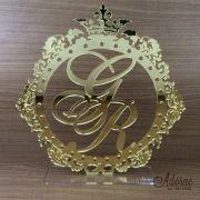 Topo de Bolo Brasão - Acrílico Dourado ou Prata Espelhado (mod013)