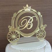 Topo de Bolo 15 anos - Carruagem Princesa - Acrílico Dourado ou Prata Espelhado
