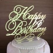 Topo de Bolo - Happy Birthday -  Acrílico Dourado ou Prata Espelhado - Pronta Entrega