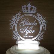 Topo de bolo iluminado com Led - Brasão (M07)