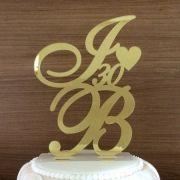 Topo de Bolo Iniciais - Bodas - Acrílico Dourado Espelhado