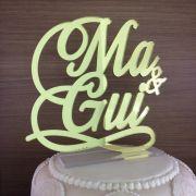Topo de Bolo Nome Noivos - Acrílico Dourado ou Prata Espelhado