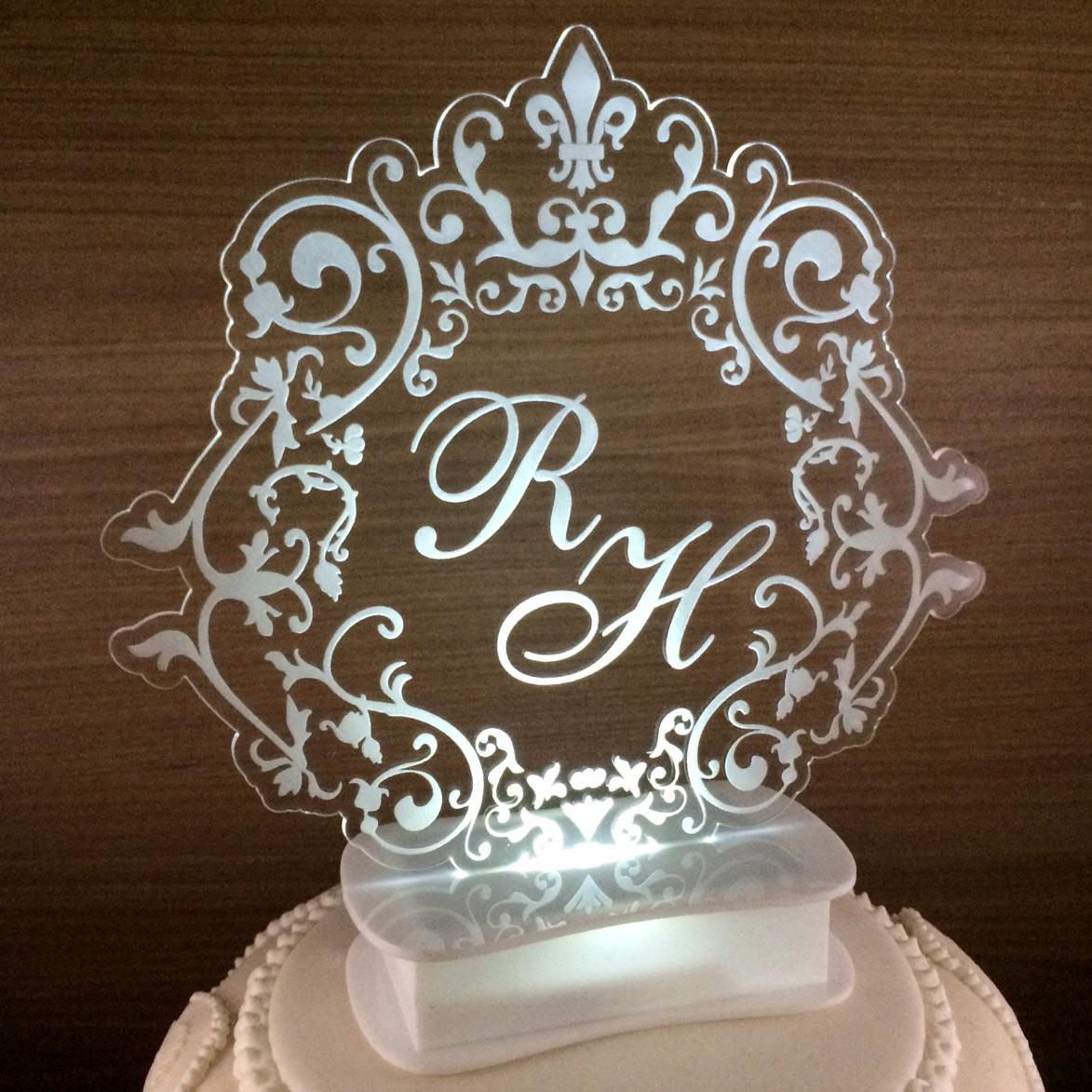Topo de bolo iluminado com Led - Brasão (M04)