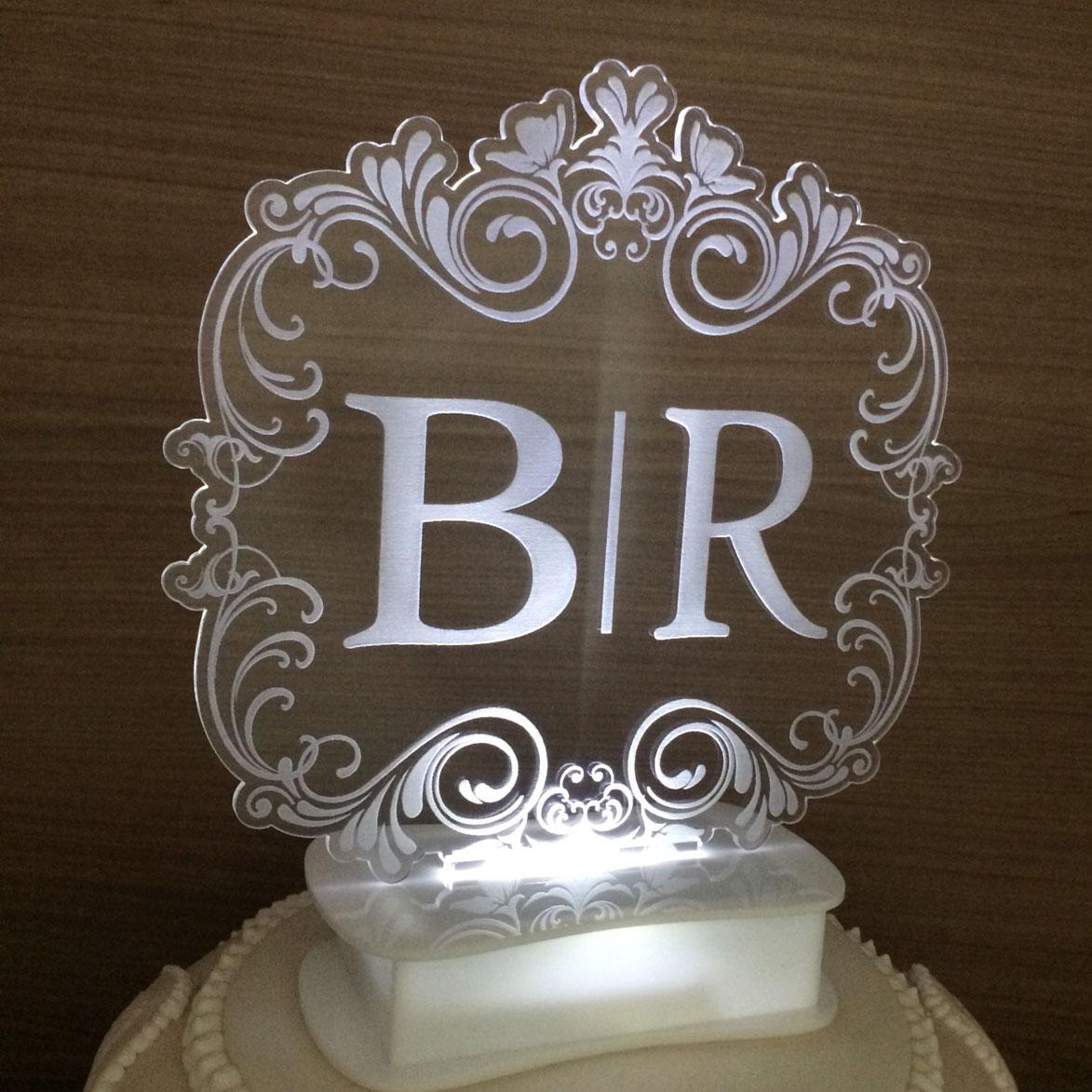 Topo de bolo iluminado com Led - Brasão (M03)