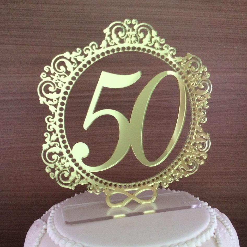 Topo de Bolo Brasão 50 anos - Bodas de Ouro - Acrílico Dourado Espelhado