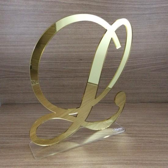 Topo de Bolo 15 anos - Inicial - Acrílico Dourado ou Prata Espelhado
