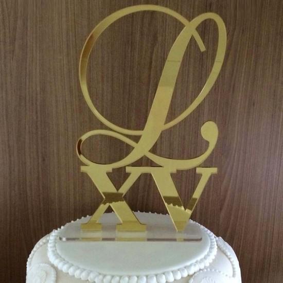 Topo de Bolo 15 anos - Inicial XV - Acrílico Dourado ou Prata Espelhado