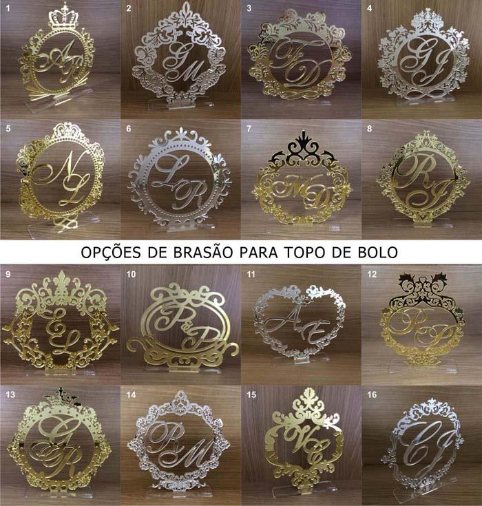 Topo de Bolo Brasão - Acrílico Dourado ou Prata Espelhado