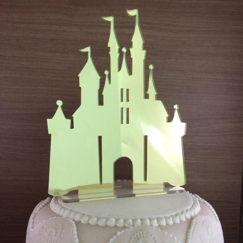 Topo de Bolo - Castelo Disney - Acrílico Dourado ou Prata Espelhado - Pronta Entrega