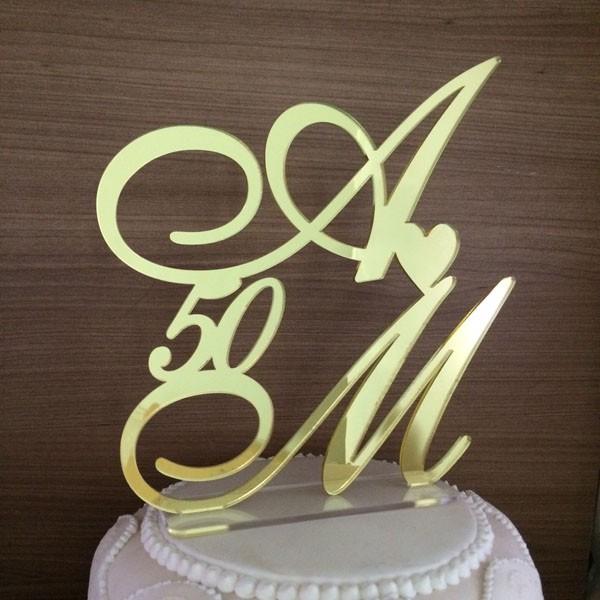 Topo de Bolo Iniciais - Bodas de Ouro - Acrílico Dourado Espelhado