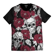 Camisa Caveira Mexicana Rosas Florida Swag