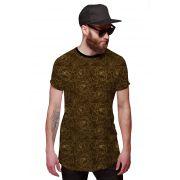 Camisa Longline Marrom com Flores Douradas em Linhas