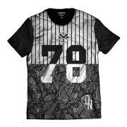Camisa Swag Beisebol 78 Básica Listrada DN Preta e Branca