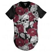 Camisa Swag Caveira Mexicana Florida Rosas Vermelhas