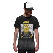 Camiseta Bart Simpsons Preso Preta Masculina