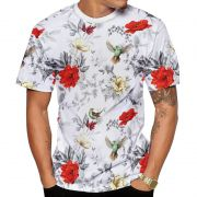 Camiseta Beija Flor Branca e Rosas Vermelhas Masculina