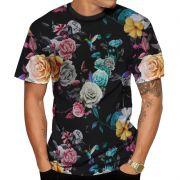Camiseta Beija Flor Florida Preta Masculina Floral