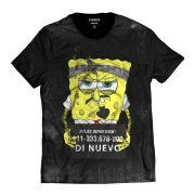 Camiseta Bob Esponja Preso Masculina Preta