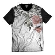 Camiseta Branca com Flor Rosa Rap Flowers Florida
