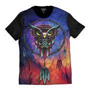 Camiseta Coruja Filtro dos Sonhos Colorida Preta Masculina