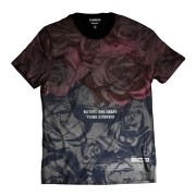 Camiseta Estampa Total Rosas Vermelhas Degradê Rap