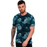 Camiseta Estampada Flores Azul Fashion