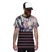 Camiseta Floral Masculina Listrada Roxa e Vinho