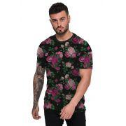 Camiseta Floral Preta e Rosa Masculina Top