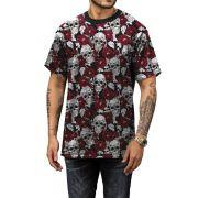Camiseta Flores e Caveiras Color Verão