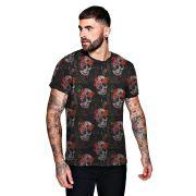 Camiseta Florida com Caveiras Floral Skull Masculina