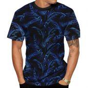 Camiseta Folhas Coqueiros Azul Neo Psy verão