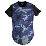 Camiseta Longline Azul Camuflada Exército