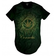 Camiseta Longline Cannabis Erva Verde Fumo Marijuana