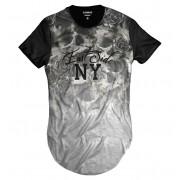 Camiseta Longline Caveira Floral East Side NY Degradê