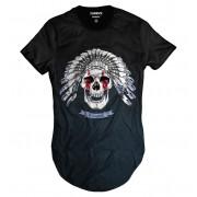 Camiseta Longline Skull Caveira IndÍgena Selvagem