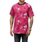 Camiseta Masculina Rosa Floral Verão 2019 Top