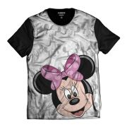Camiseta Minnie Mouse Disney Rosa Of Whitte Rostinhos