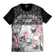 Camiseta Caveira Floral New York Colorida