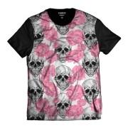 Camiseta T-shirt Rosa com caveira Floral StreetWear