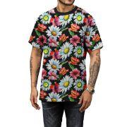 Camiseta Verão 2019 Margaridas Floral Masculina